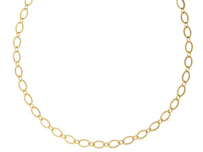 שרשרת זהב חוליות אובל-קצרה.