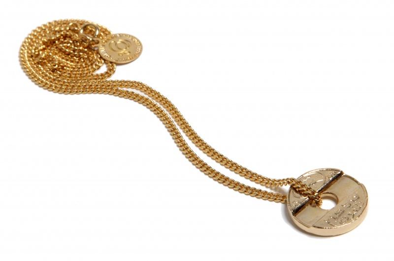 שרשרת אסימון מקורי מצופה זהב