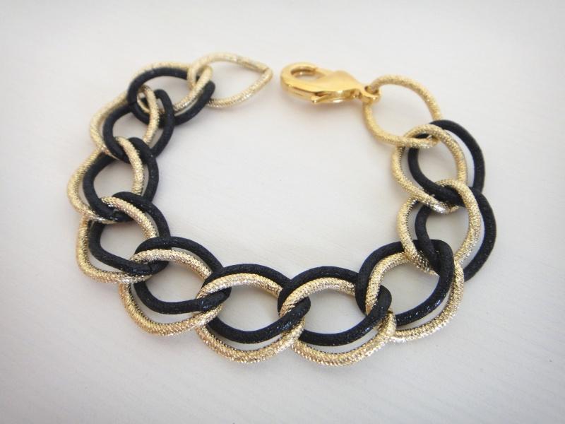 צמיד גורמט זהב ושחור / כסף משולב