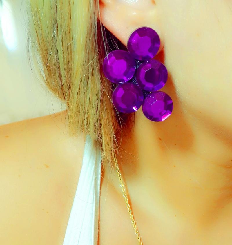 עגיל חצי הפרח- סגול