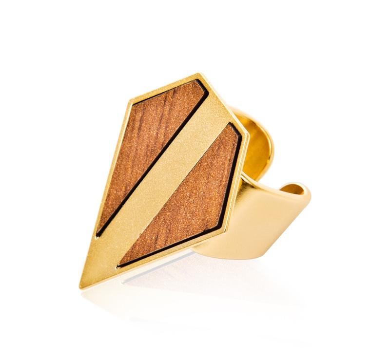 טבעת פסקל זהב - עץ