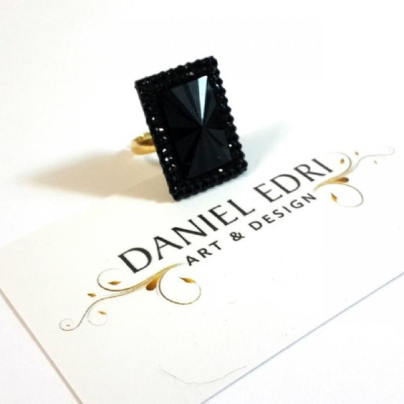 טבעת מלבן שחור