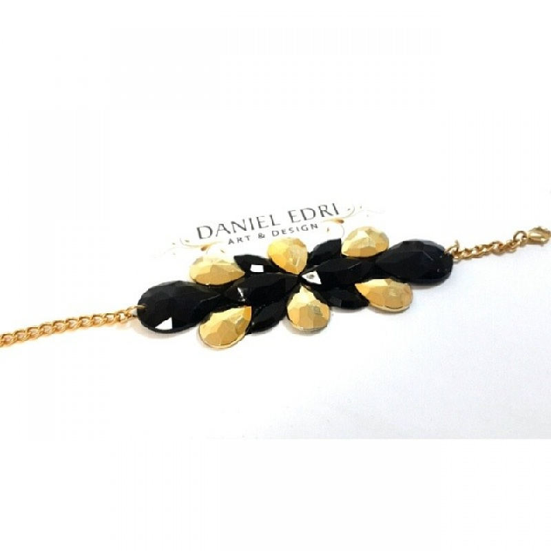צמיד קרן- שחור זהב