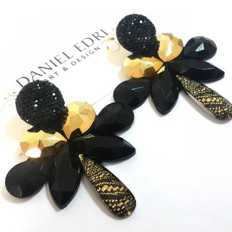 עגיל ליטל- שחור זהב מעוטר