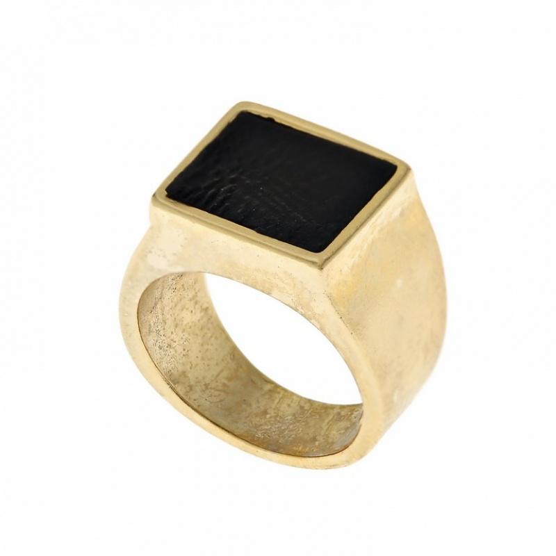 טבעת חותם עם עור לזרת זהב