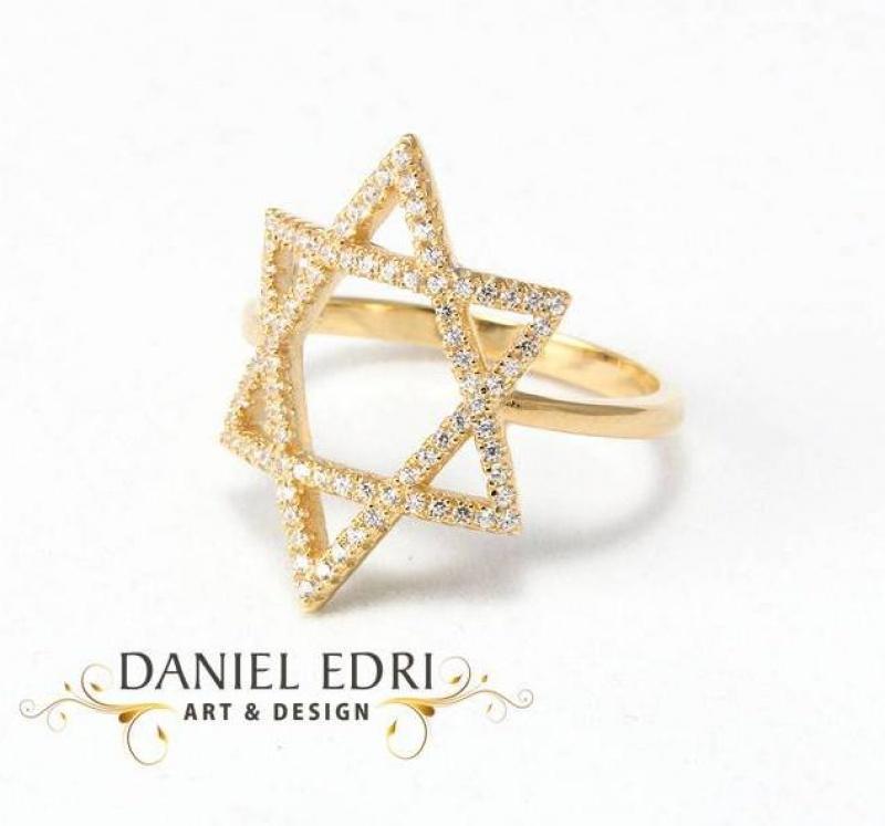 טבעת מגן דוד זרקונים