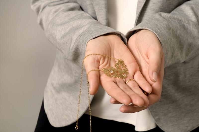 שרשרת לב זהב וזירקון  - אהבה יפנית