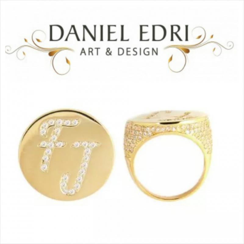טבעת חותם- שיבוץ אותיות וסביב הטבעת