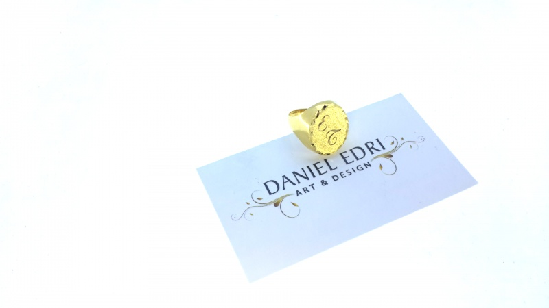 טבעת אליפסה עם מסגרת + חריטה