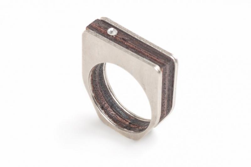 טבעת מרובעת עץ כסף
