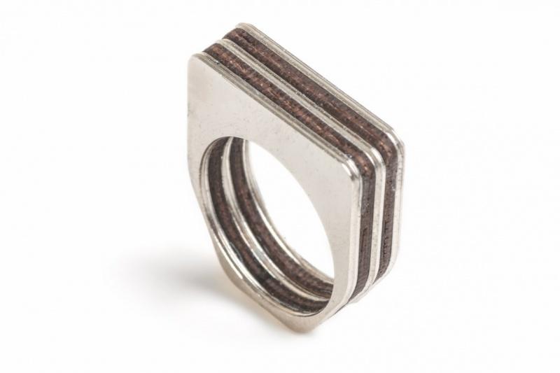 טבעת מרובעת סנדוויץ כסף