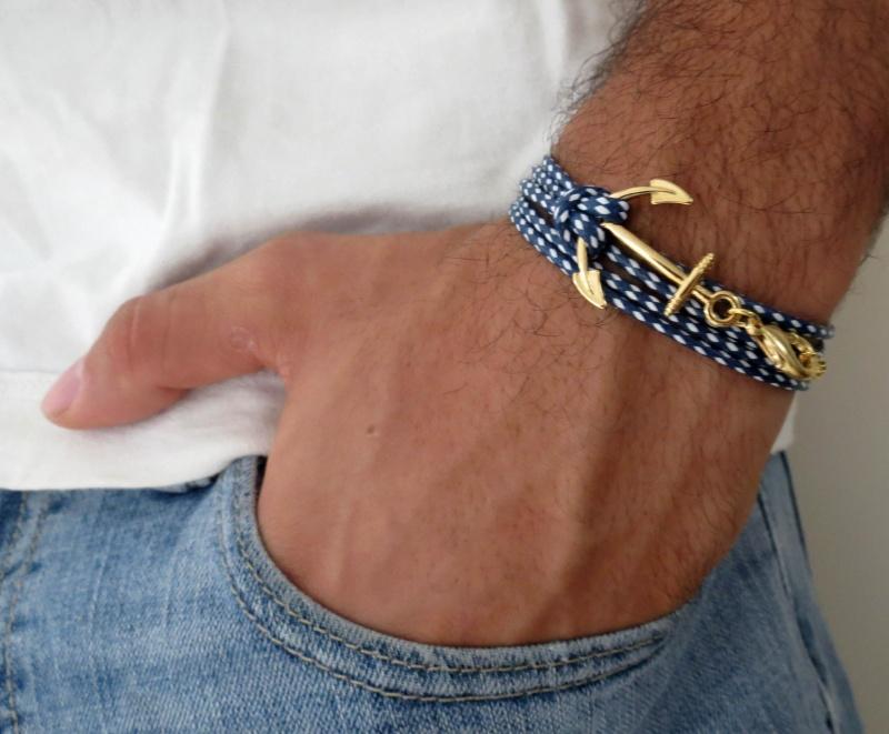 צמיד לגבר - צמיד עוגן לגבר - צמיד כחול לבן לגבר - צמיד בד לגבר - תכשיטים לגבר