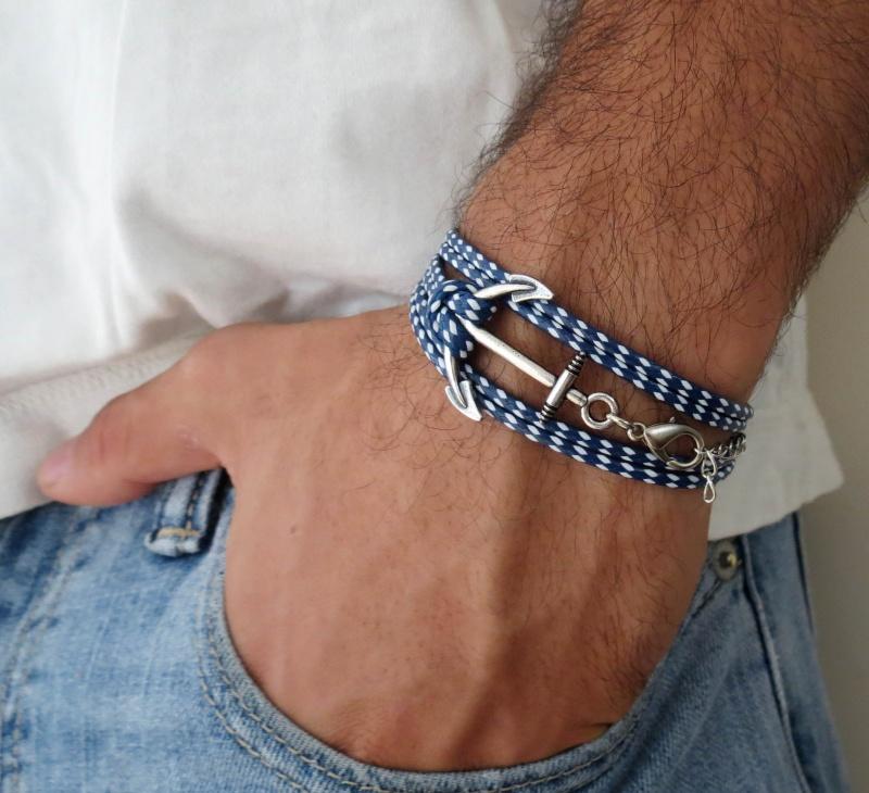 צמיד לגבר - צמיד עוגן לגבר - צמיד כחול לבן לגבר - תכשיטים לגבר