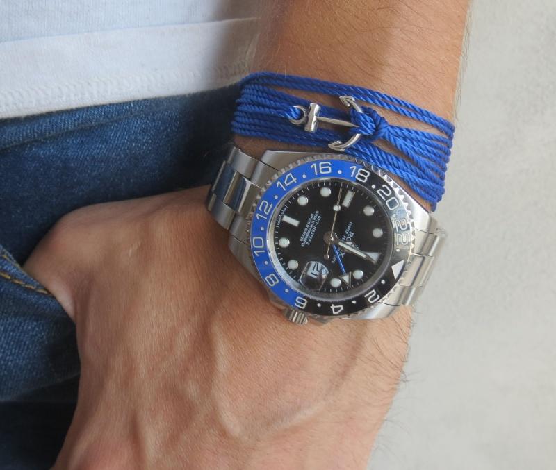 צמיד לגבר - צמיד עוגן לגבר - צמיד כחול לגבר - צמיד חוטים לגבר - צמיד עוגן כסף קטן לגבר עשוי מחוטים כחולים