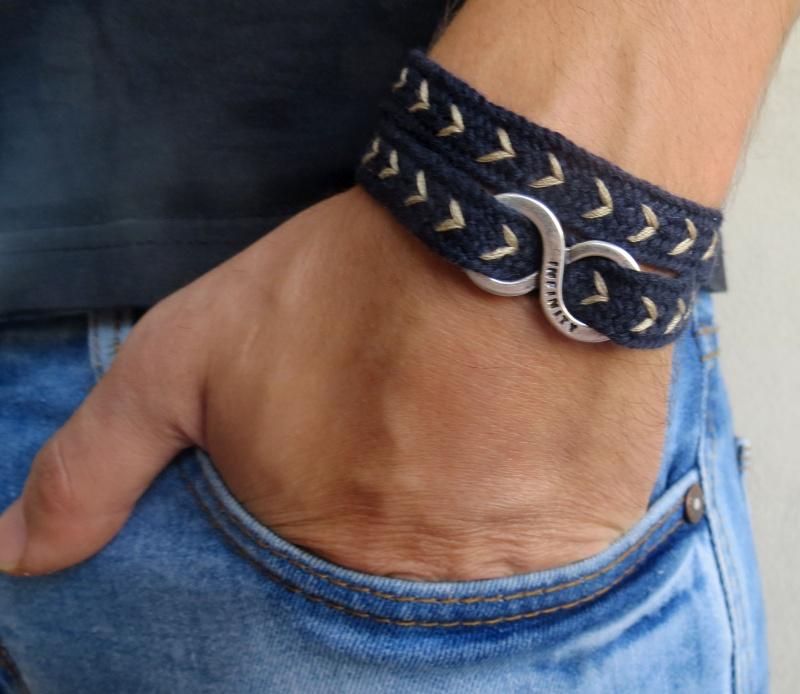 צמיד לגבר - צמיד איפיניטי לגבר - צמיד אינסוף לגבר - צמיד כחול לגבר - צמיד בד לגבר - צמיד בד כחול חיצים אינסוף