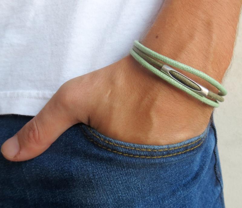 צמיד לגבר - צמיד צינור לגבר - צמיד ירוק לגבר - צמיד בד לגבר - תכשיטים לגבר