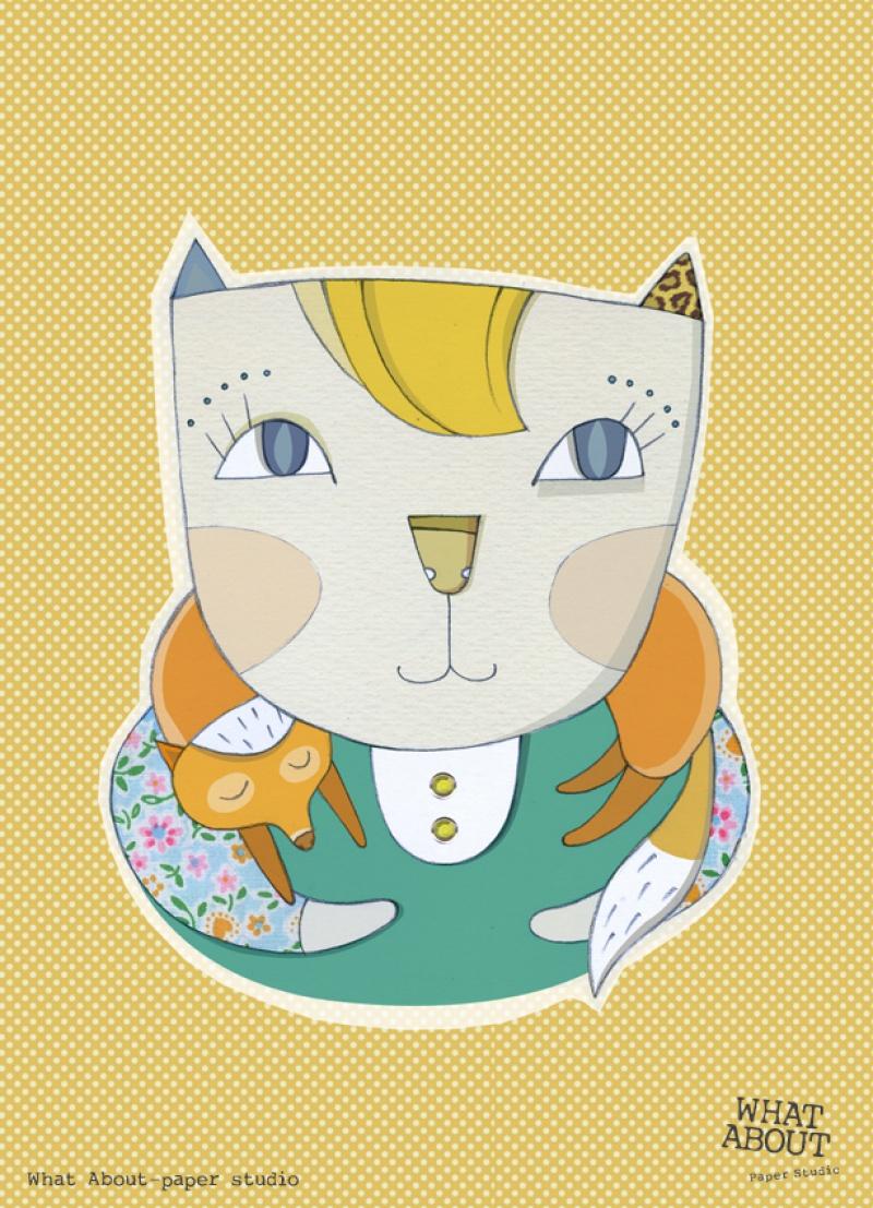 גלויה למסגור חתולה עם צעיף