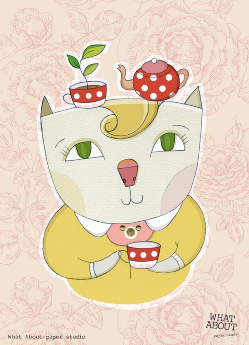 גלויה למסגור חתולה וכוס תה