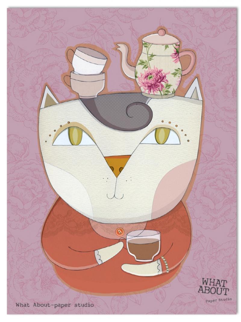 גלויה למסגור חתולה וכוס תה על רקע סגול