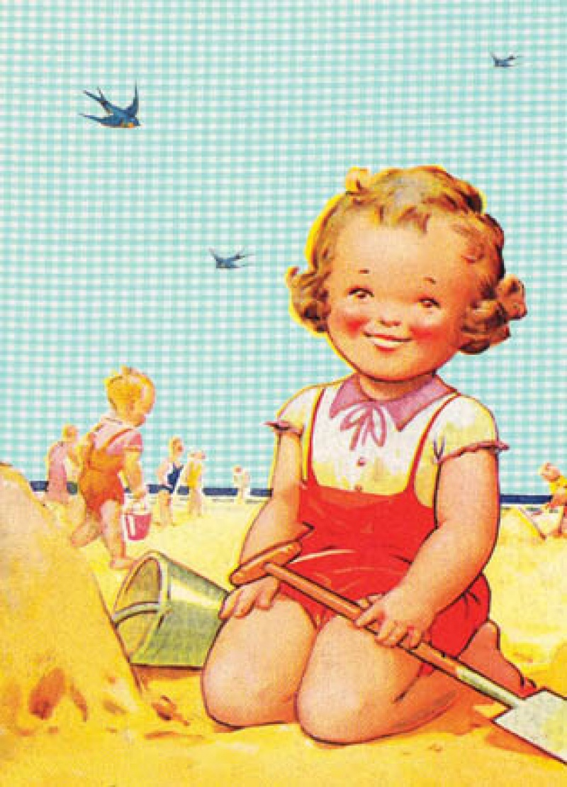 גלויה- ילדה בחוף הים