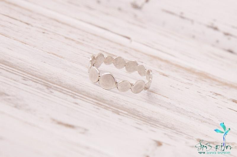 טבעת עיגולים מכסף סטרלינג