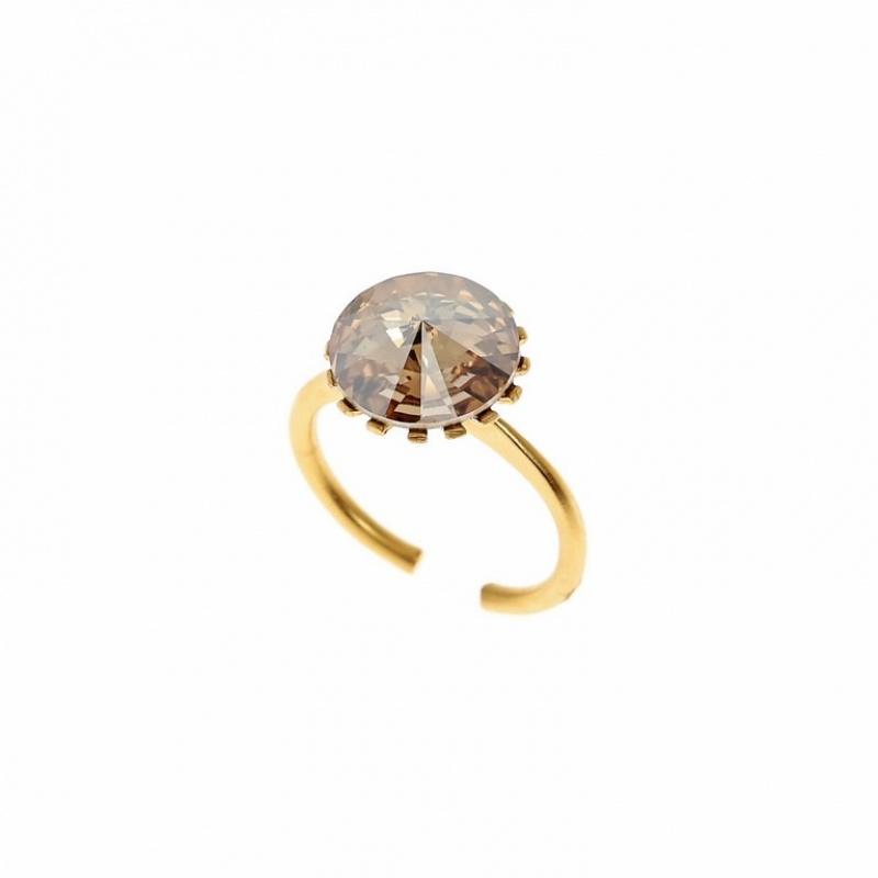 טבעת קווינסטון זהב אבן שמפניה