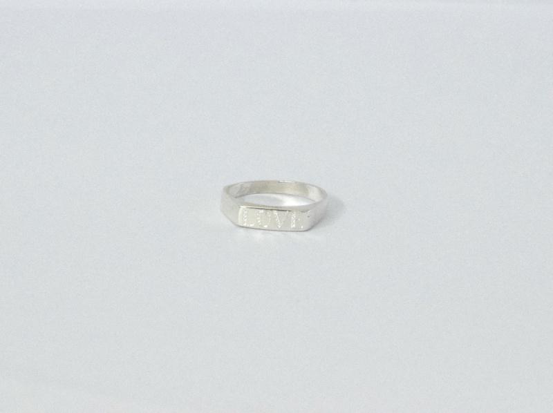 טבעת חותם כסף עם חריטה-מלבן