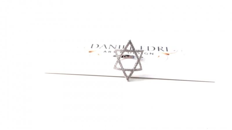 טבעת מגן דוד זרקונים כסף