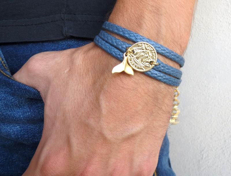 צמיד לגבר - צמיד מטבע לגבר - צמיד כחול לגבר - צמיד בד לגבר - תכשיטים לגבר