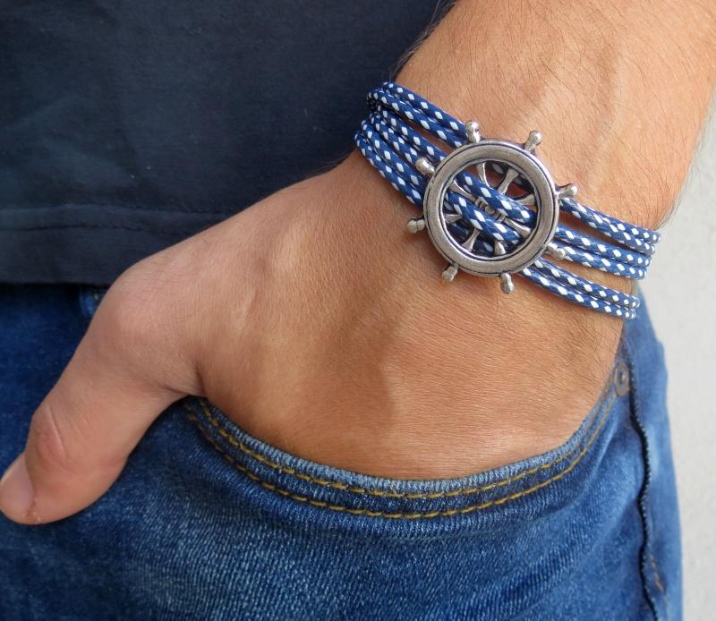 צמיד לגבר - צמיד הגה לגבר - צמיד כחול לבן לגבר - צמיד בד לגבר - תכשיטים לגבר