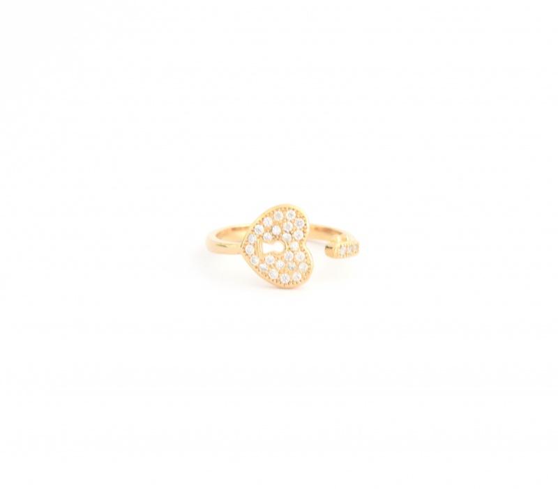 טבעת מפתח לב סברובסקי גולדפילד