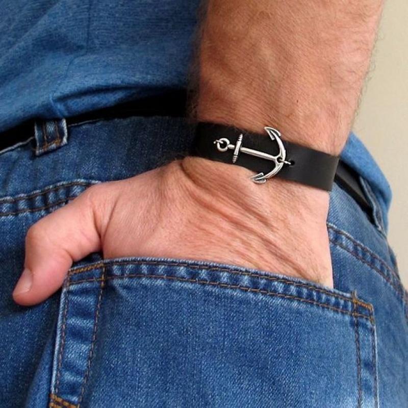 צמיד עוגן לגבר - צמיד עור לגברים - תכשיטים לגברים - מתנה לגבר שלך - צמידים לגברים עבודת יד