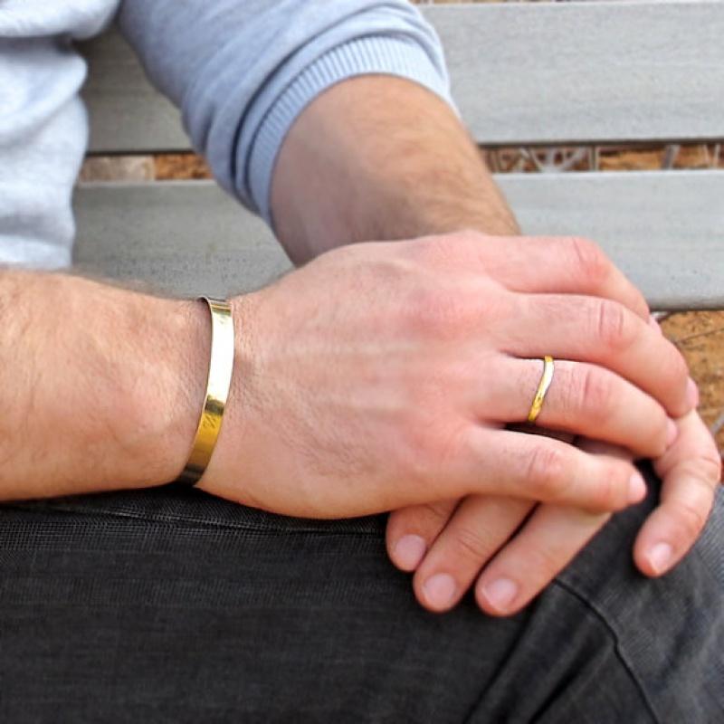 צמיד זהב לגבר - צמיד עם חריטה לגברים - תכשיטי גברים - מתמנה לבן זוג - מתנה לחבר - צמיד חריטה גולדפילד יוניסקס