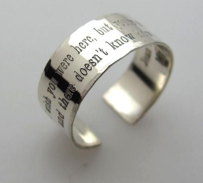 טבעת כסף בכיתוב אישי - טבעת עם חריטה - הקדשה על הטבעת - טבעת נישואין לכל החיים