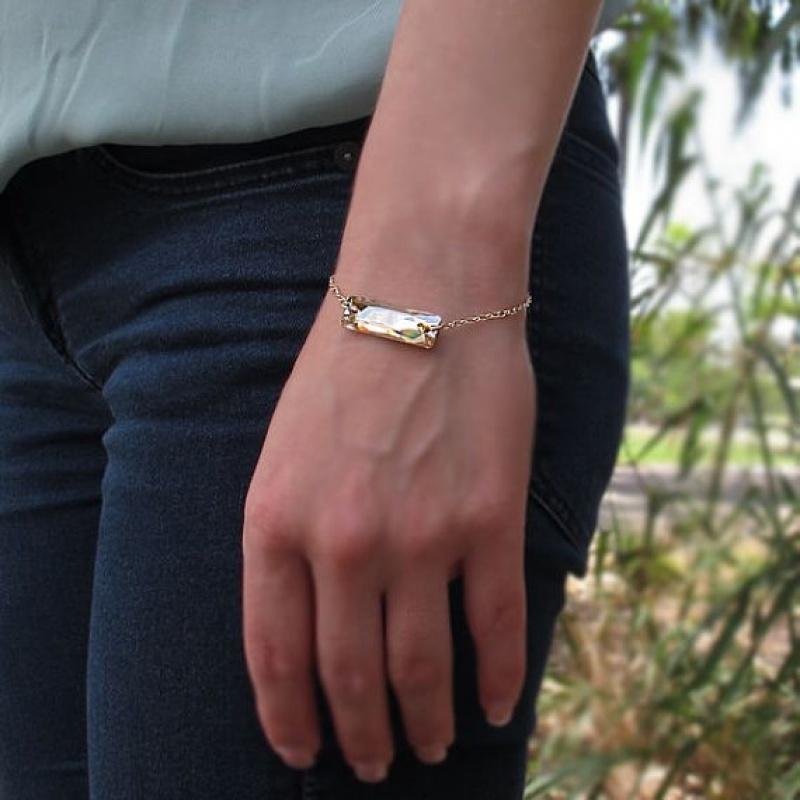 צמיד אבן קריסטל - צמיד זהב - צמיד גולדפילד עם קריסטל - צמיד לערב - צמיד יד לאישה עם אבן