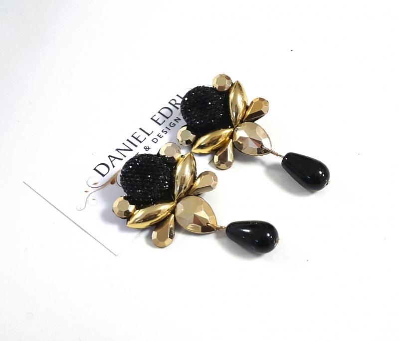 עגיל דנונה שחור זהב