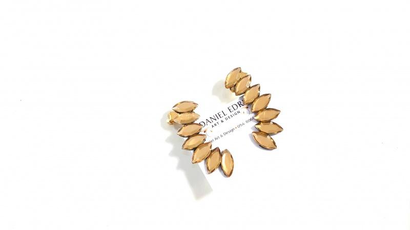 עגיל שורה מטפס- זהב שקוף