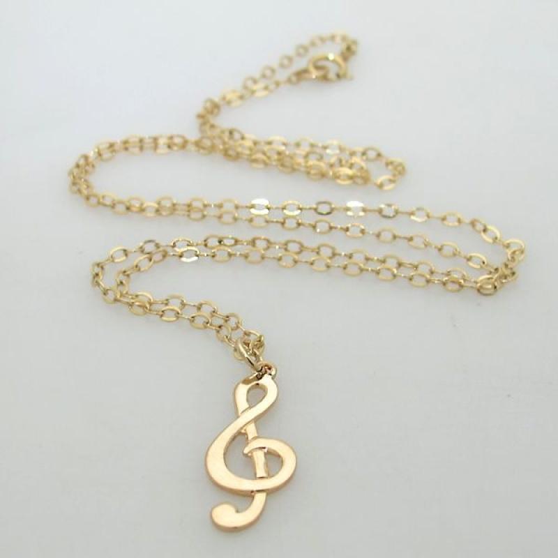 שרשרת תו נגינה - מתנה לבת זוג, לחברה - מתנה לזמרת - שרשרת גולדפילד -שרשרת מפתח סול