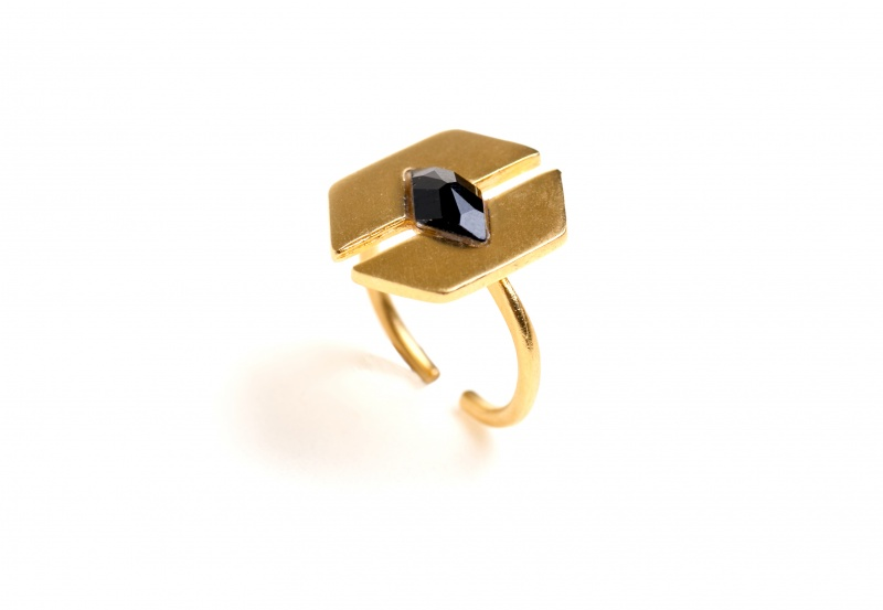 טבעת פרפר אבן שחורה