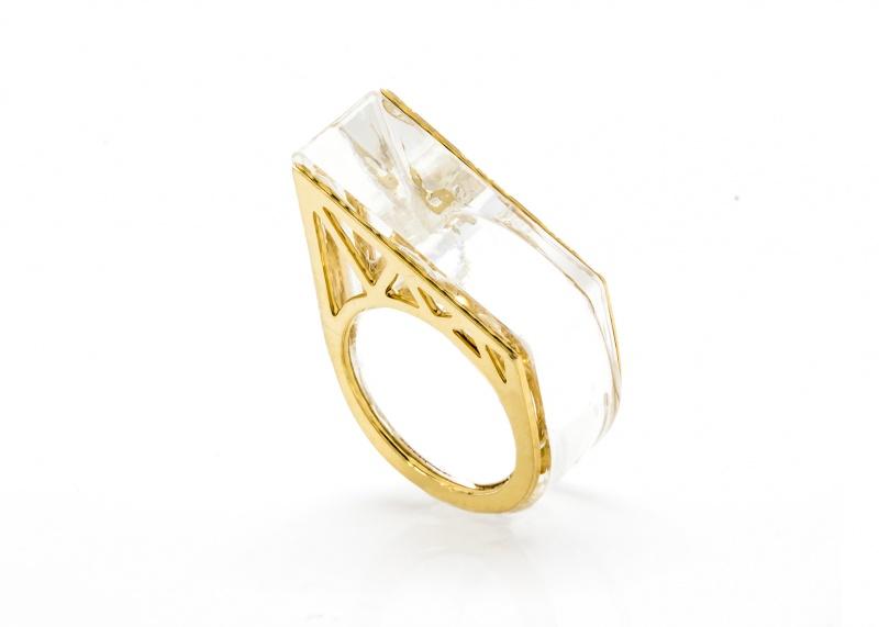 טבעת פולימר עבה - שקוף זהב