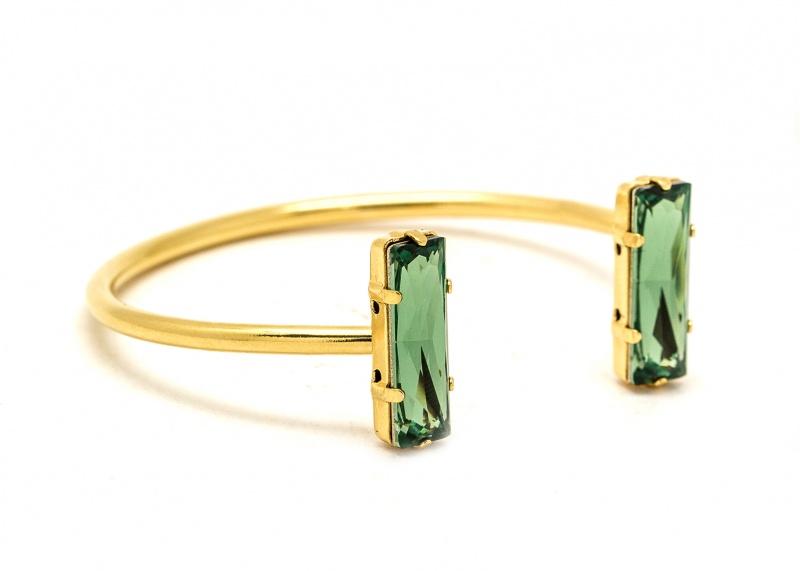 צמיד סברובסקי כפול זהב - ירוק