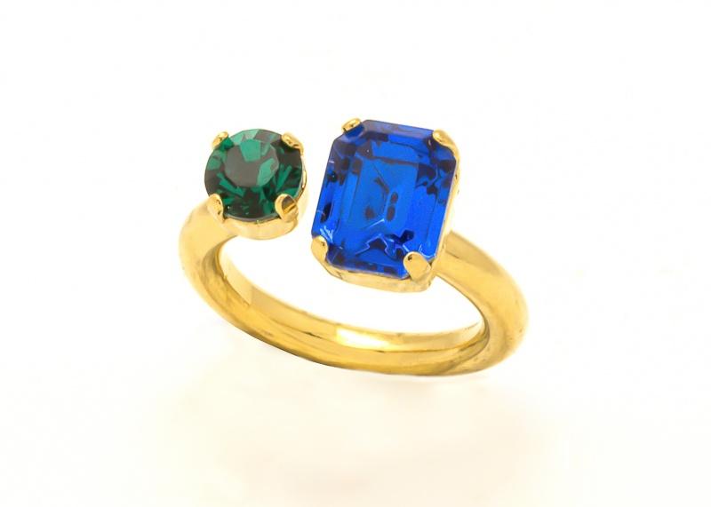טבעת סנדי זהב - כחול ירוק