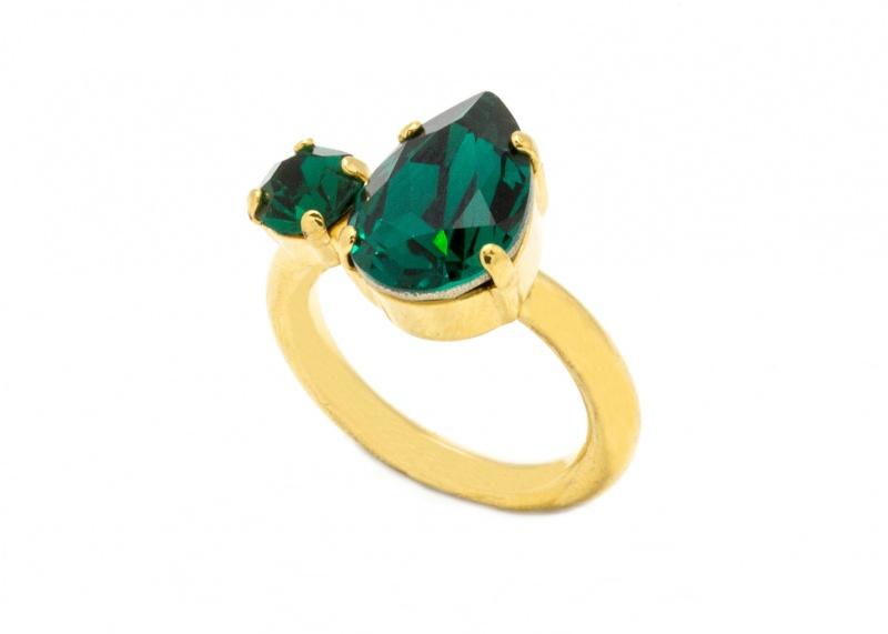 טבעת קייט זהב - ירוק אמרלד