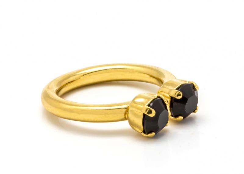 טבעת אן זהב - שחור