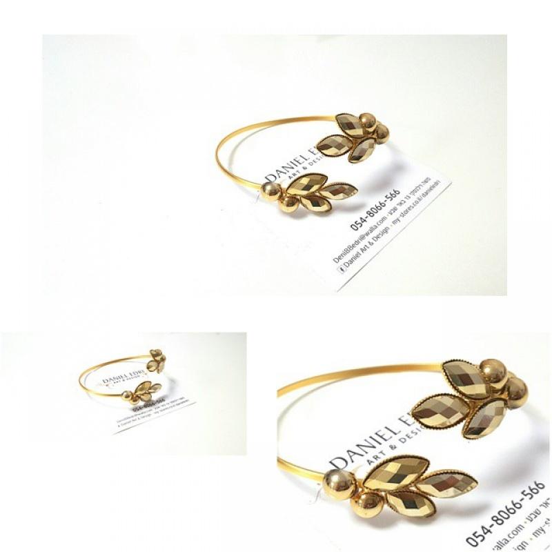 צמיד זרוע / יד עלים זהב