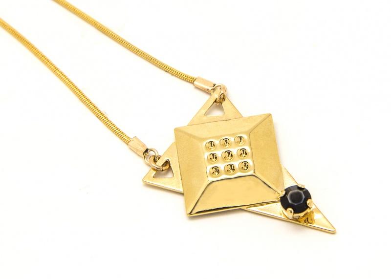 שרשרת קריסטין זהב - שחור
