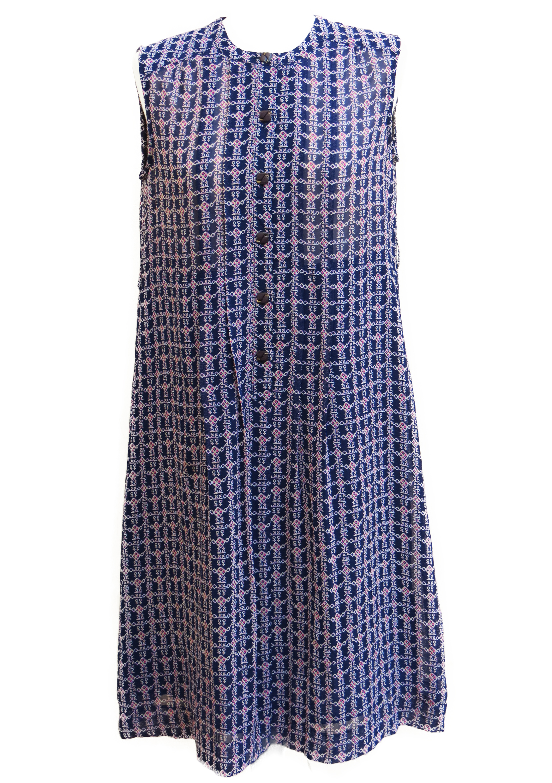 שמלת סנדרה כחולה משובצת