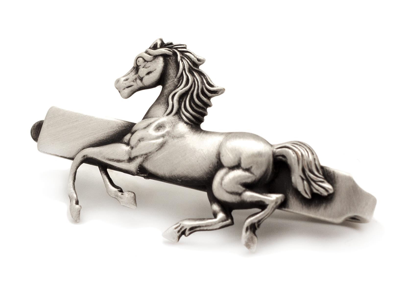 תפס לעניבה סוס כסף מוברש