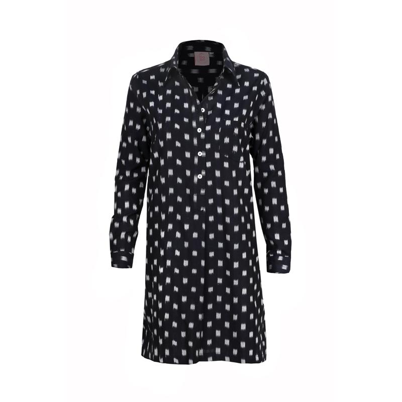 שמלת טופי איקט שחור לבן
