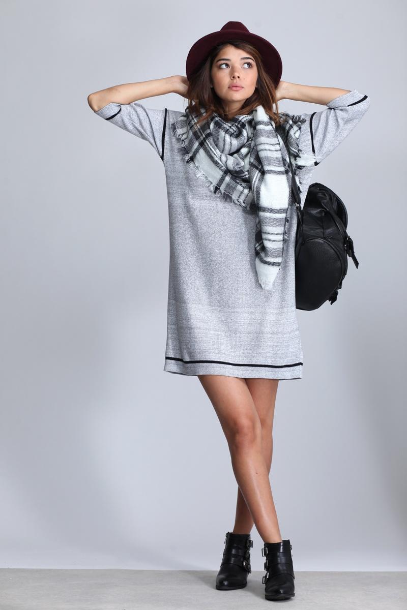 שמלת סריג אורבנית אפור-שחור